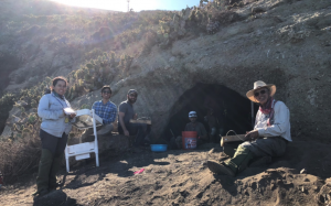 Left to right: Raquel, a student of Porcayo; two drone operators turned archaeologists who had lost their drones the first day; McCain in the cave; and myself screening material
